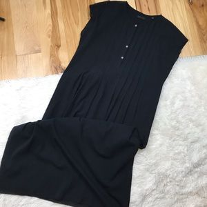 ATM Midi Pleated Dress with Button Neckline